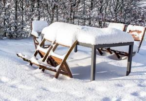 Gartengeräte, Gartenmöbel und Dekoration einlagern vor dem Winter